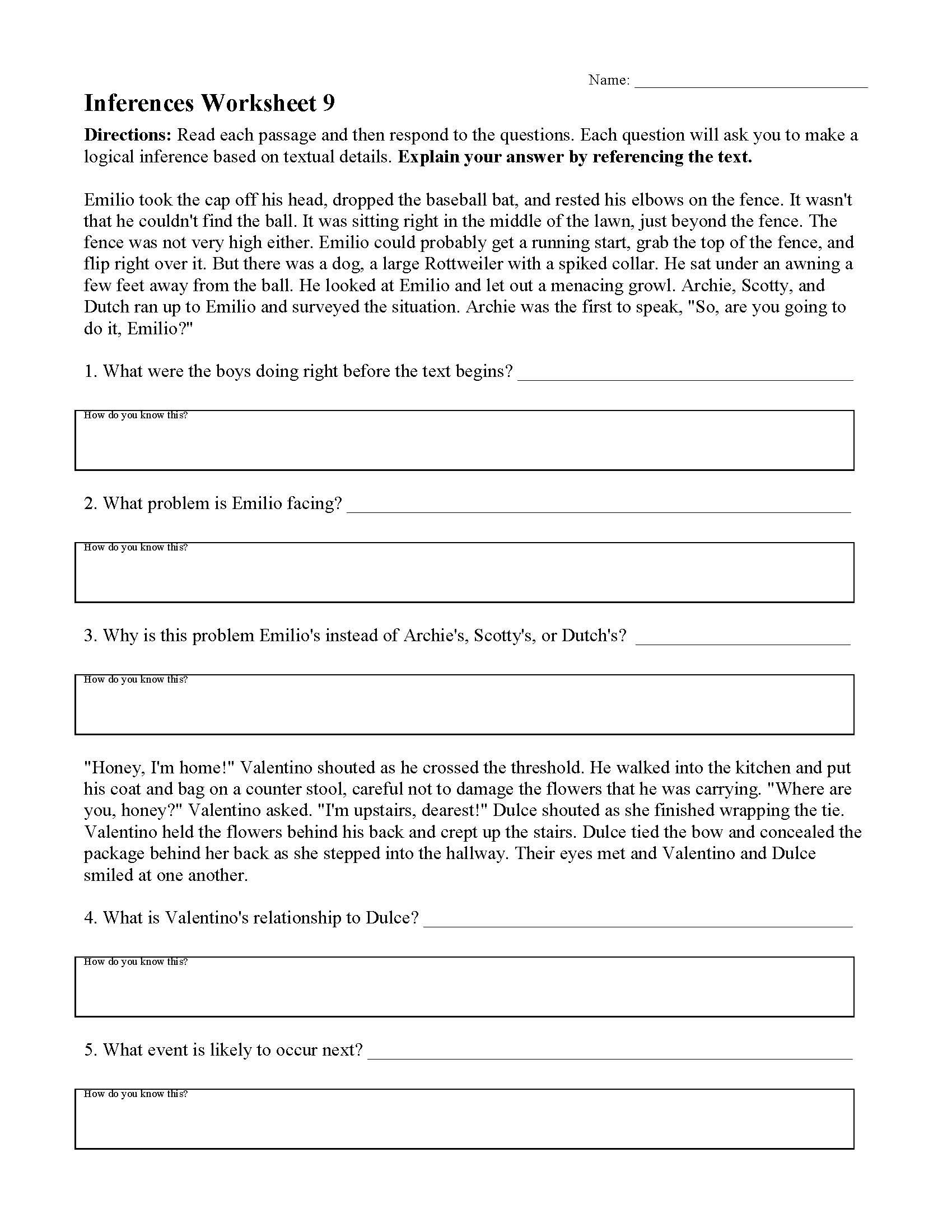 Making Predictions Worksheets 3rd Grade Inferences Worksheets