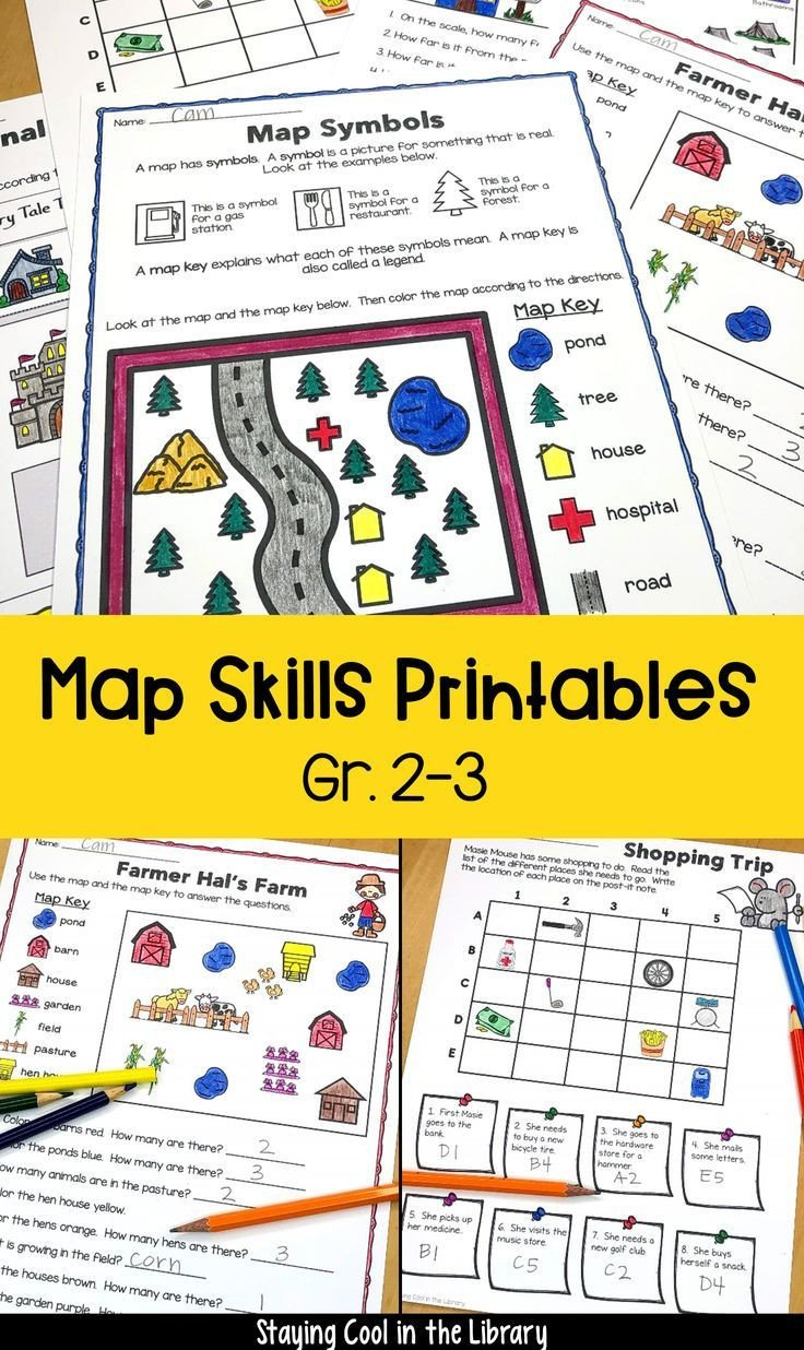 Map Grid Worksheets Map Skills 2nd and 3rd Grade