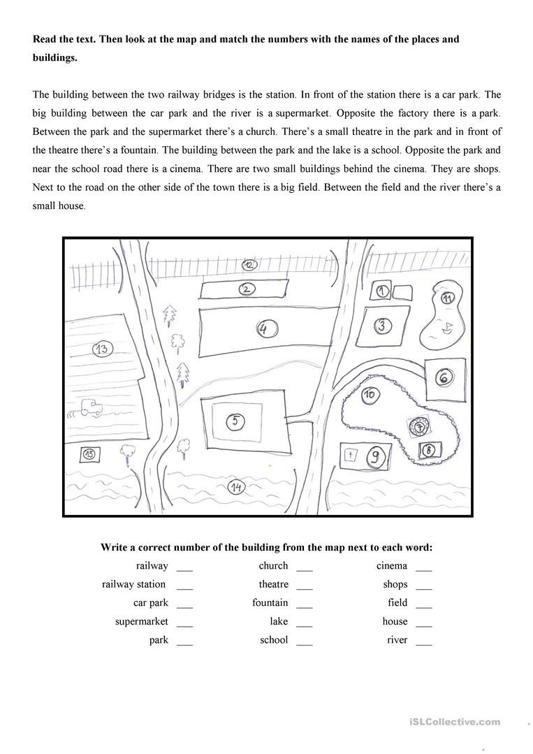map of the town worksheet templates layouts 1