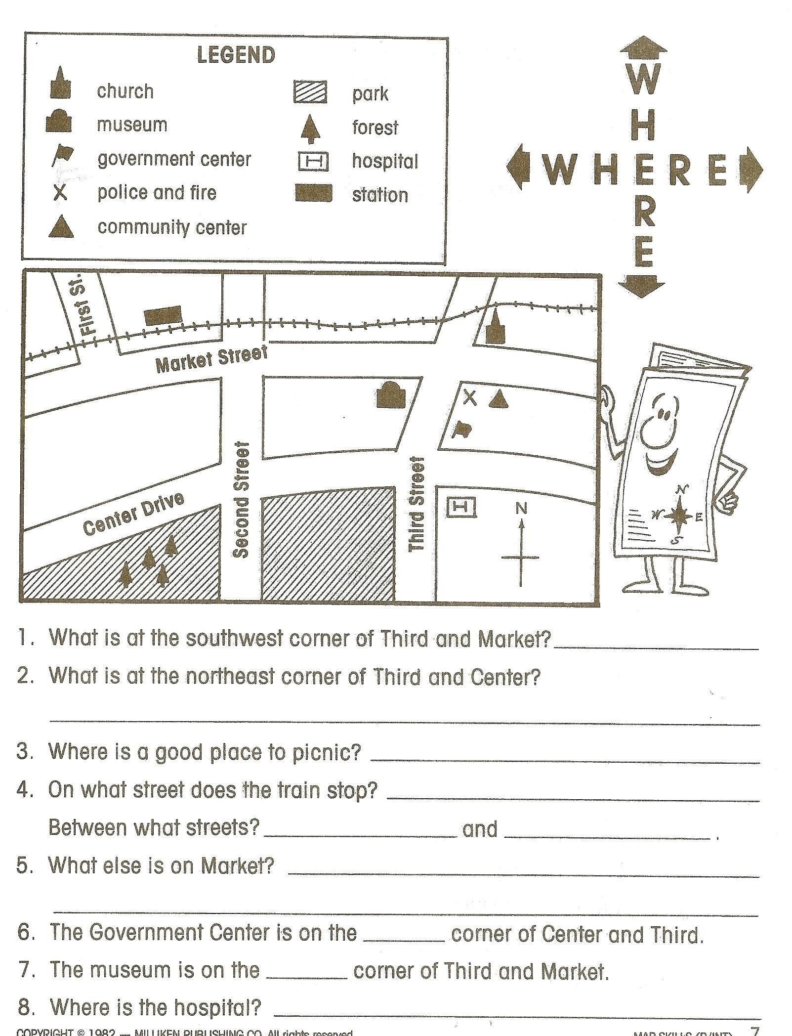 map skills worksheets to 1