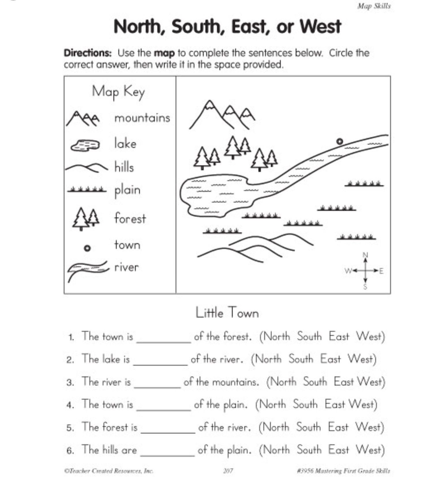 Map Skills Worksheet 2nd Grade Pin On Geography Middle School