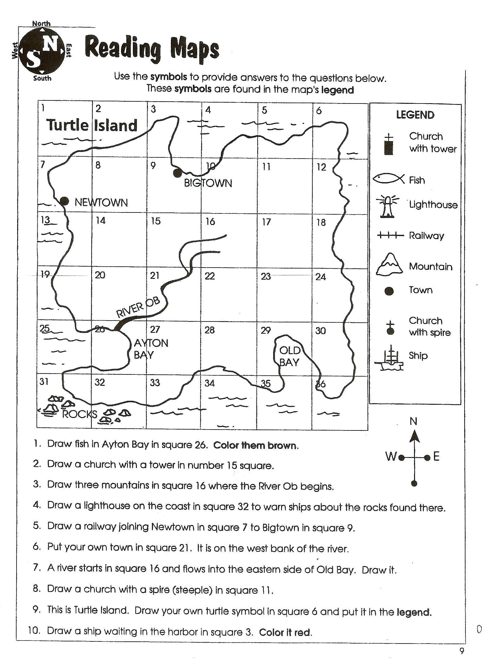 Map Skills Worksheet 2nd Grade Worksheet Map Skills Worksheets 2nd Grade Prehension