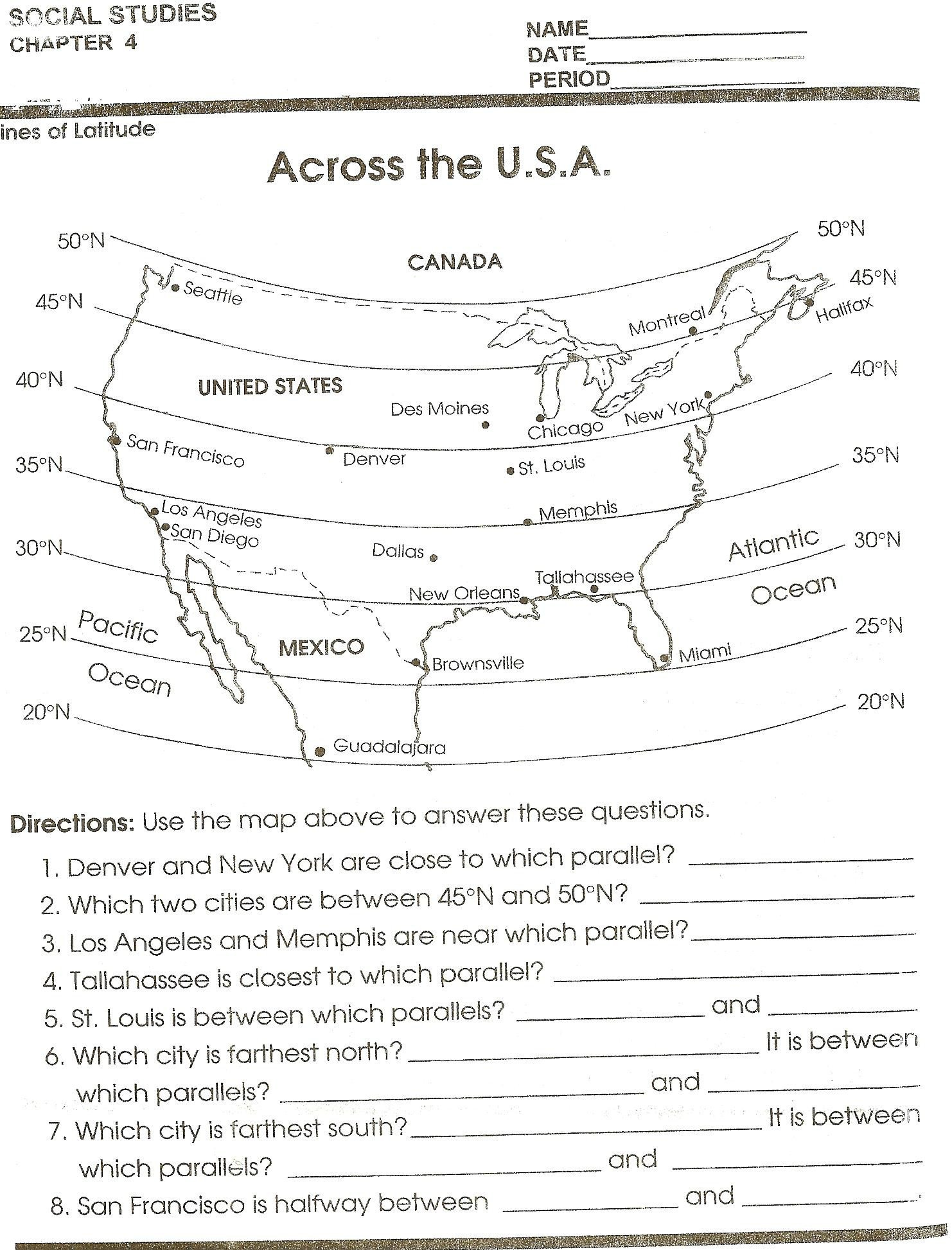 Map Skills Worksheet 4th Grade social Stu S Mapping Grade social Stu S Curriculum Map