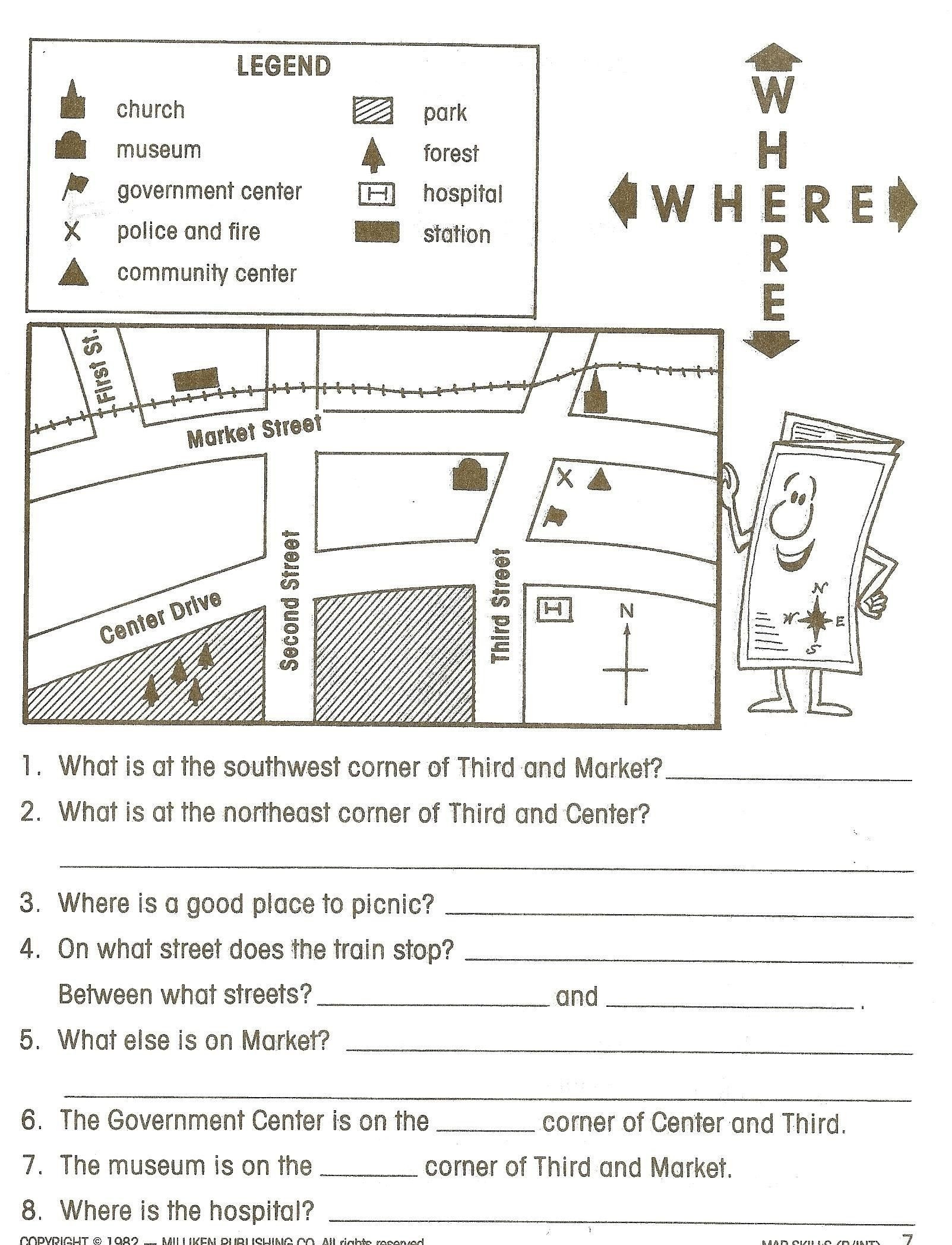 free map scale worksheets 4th grade
