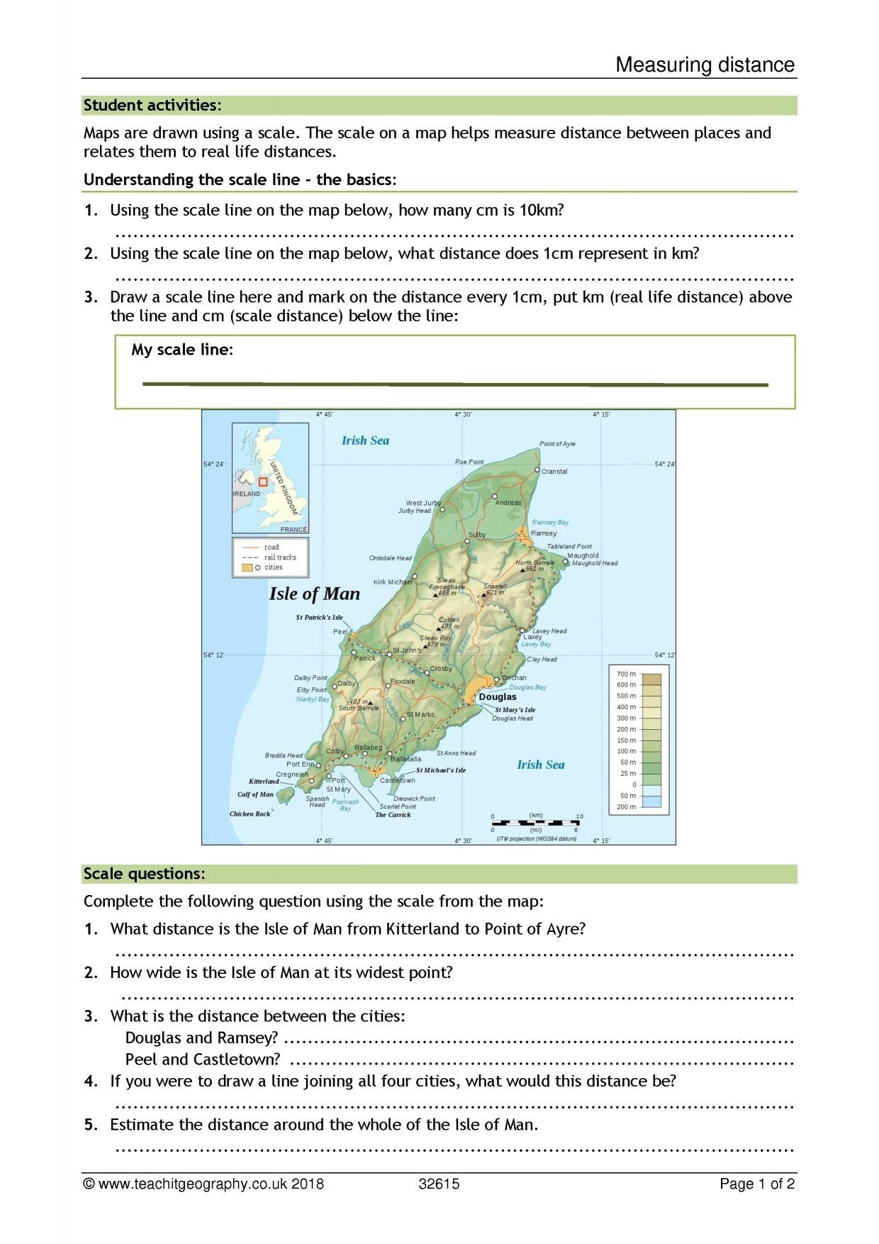 Map Skills Worksheets Pdf Measuring Distance Scale