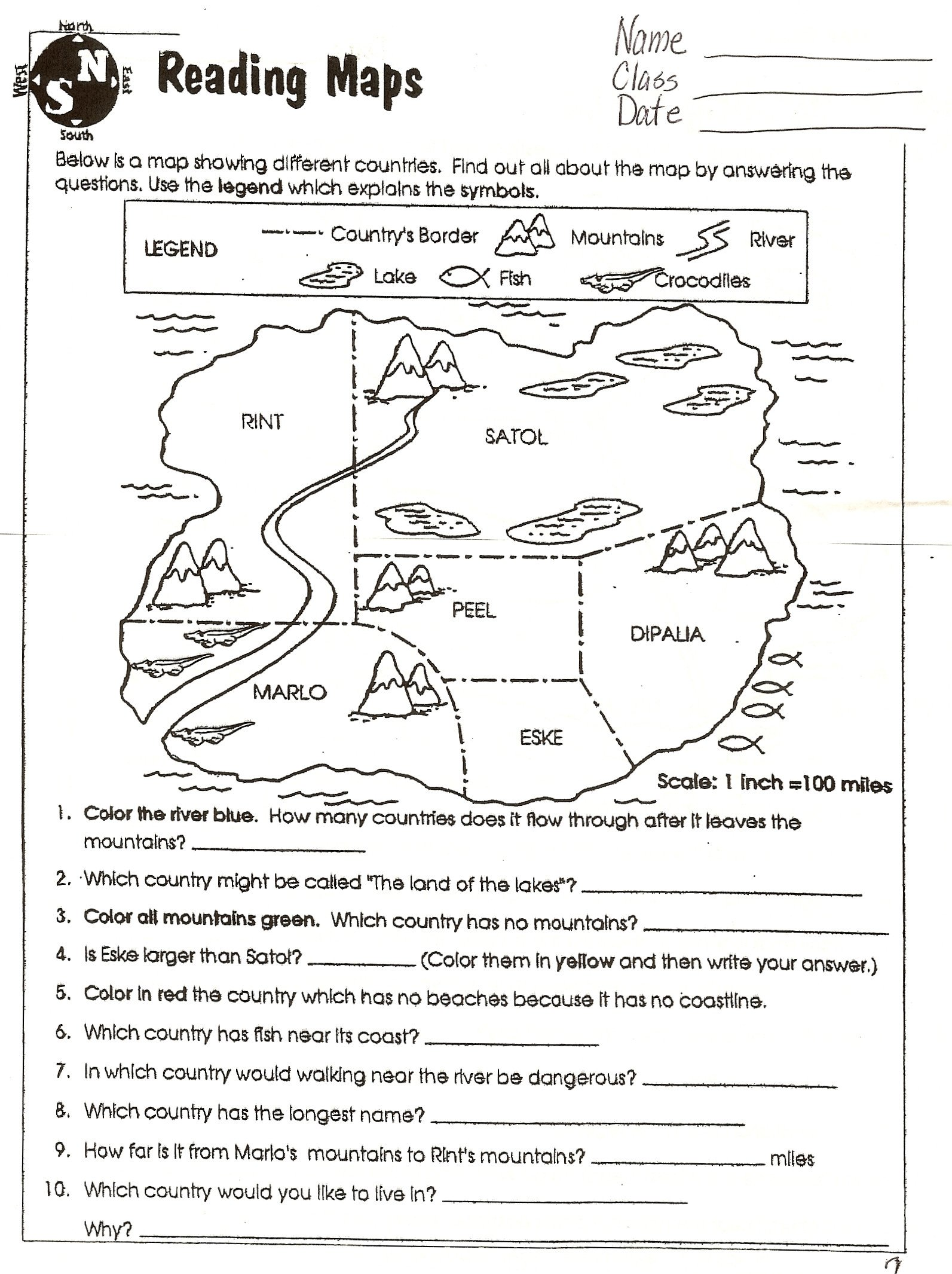 Map Worksheets for First Grade Map Worksheets for First Grade