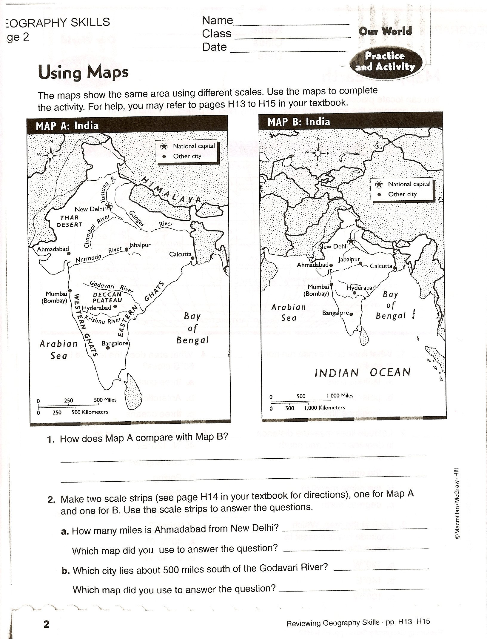 Map Worksheets for First Grade Using Scale A Map Worksheet