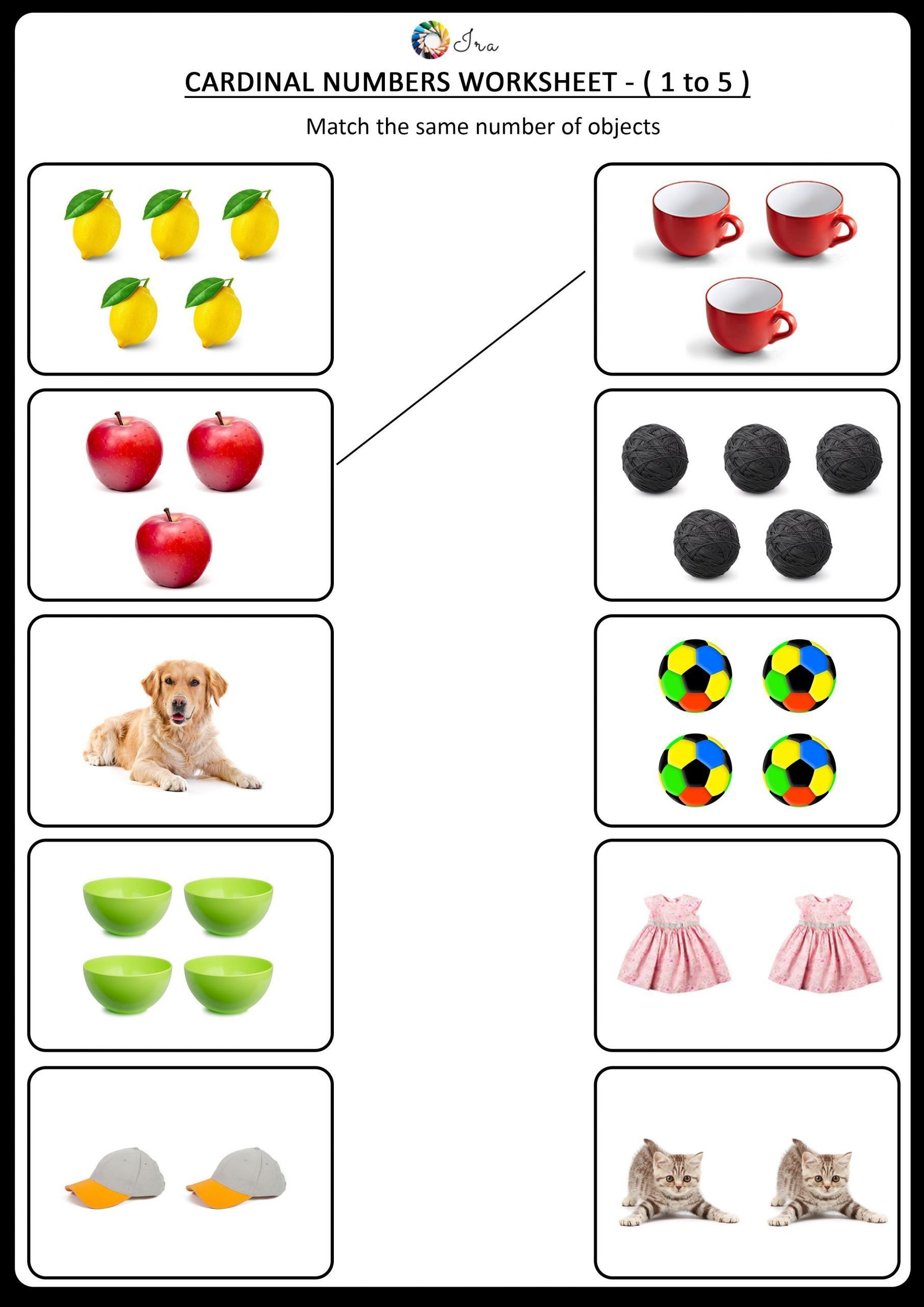 Matching Numbers Worksheets Kindergarten Worksheets Number Matching 3 Number 5 Worksheet