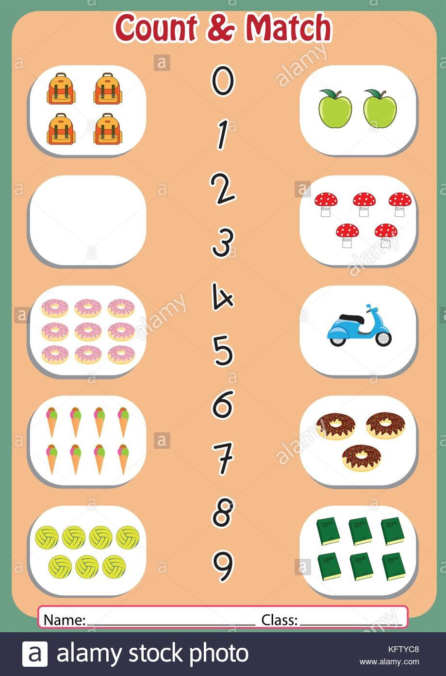 Matching Numbers Worksheets Match the Numbers to Objects Worksheet for Preschool Stock