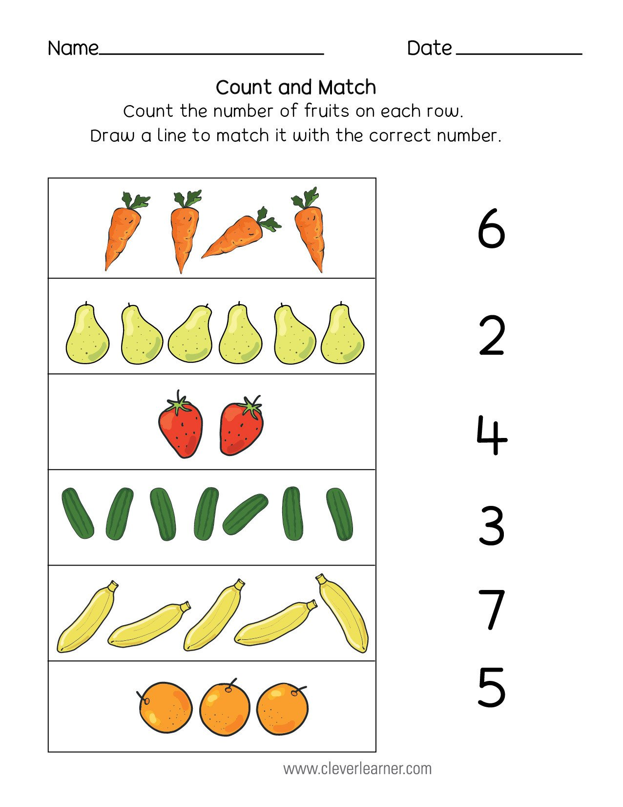 Matching Numbers Worksheets Number Matching Counting and Number Writing Worksheets