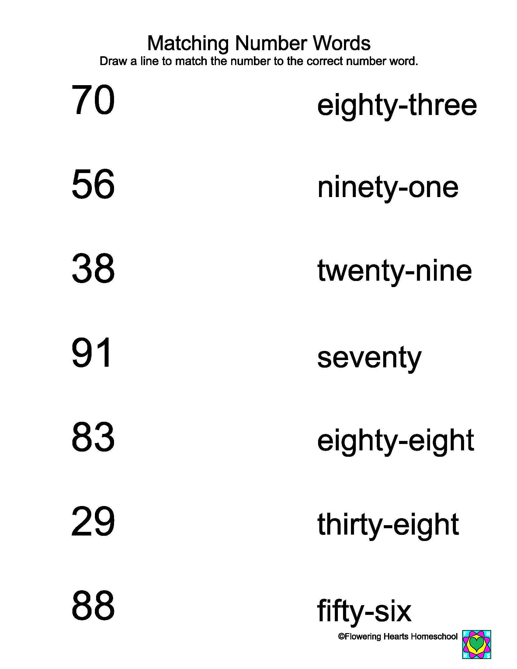 Matching Numbers Worksheets Worksheet Numbers to Words