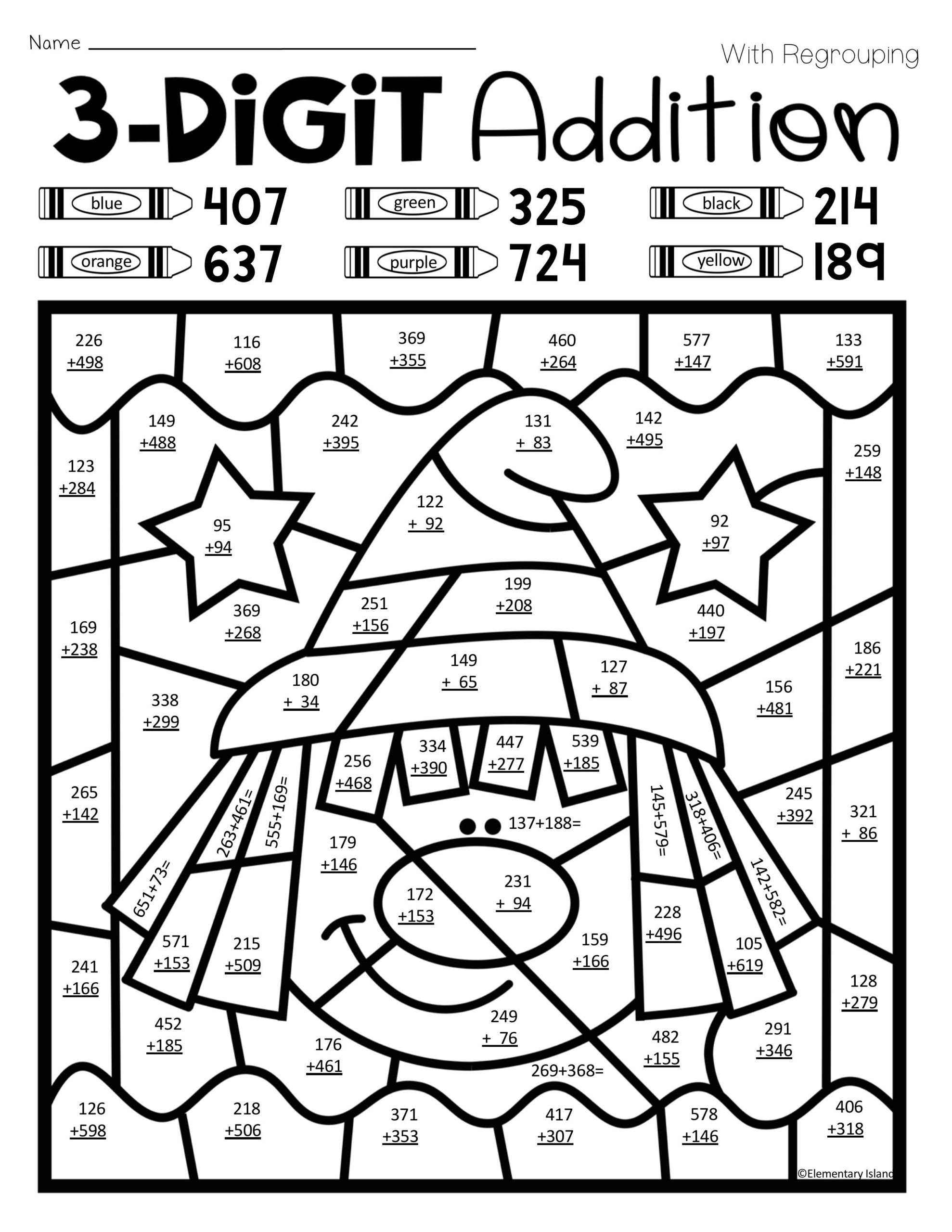Math Hidden Picture Worksheets Halloween Three Digit Addition Color by Number with and