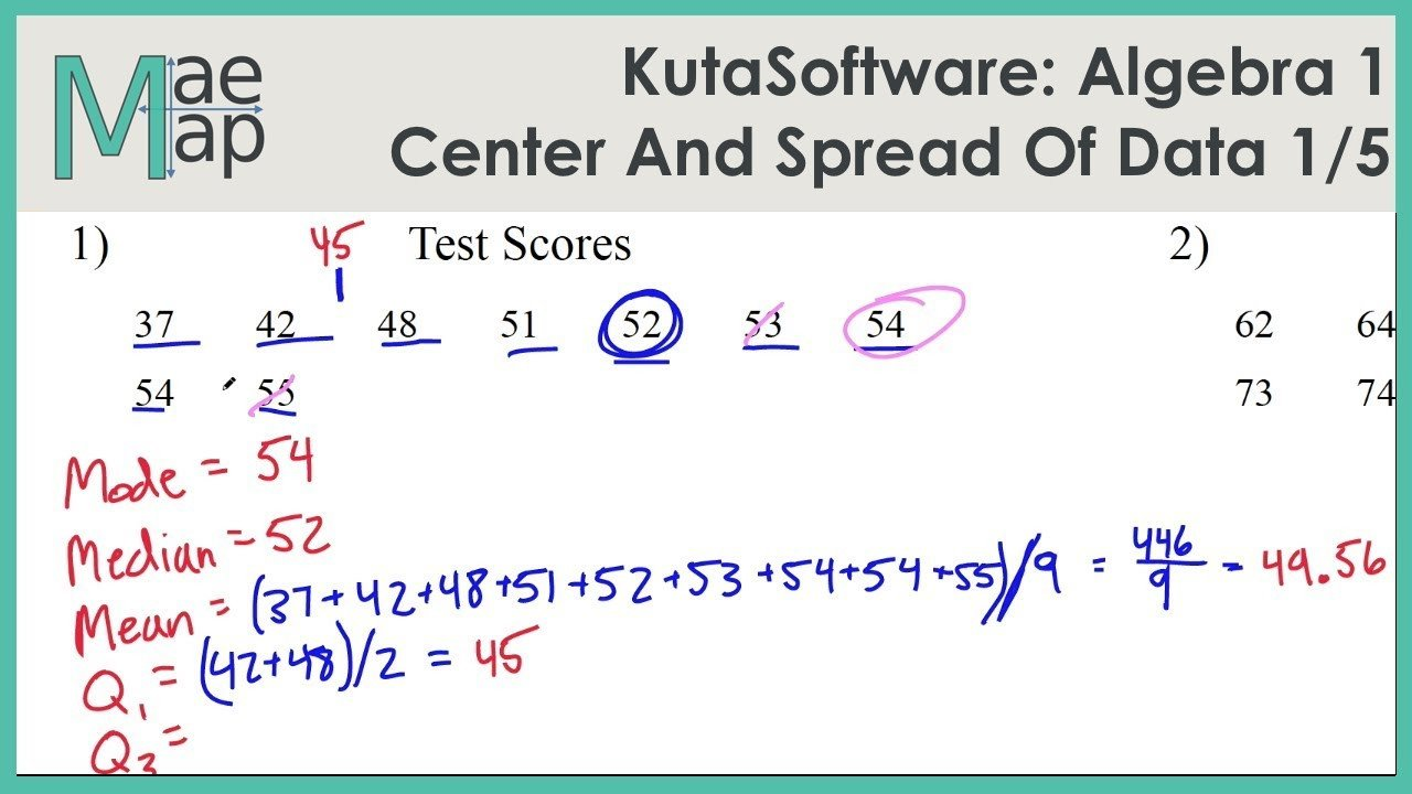 Mean Median Mode Worksheets Kuta Kutasoftware Algebra 1 Center and Spread Data Part 1