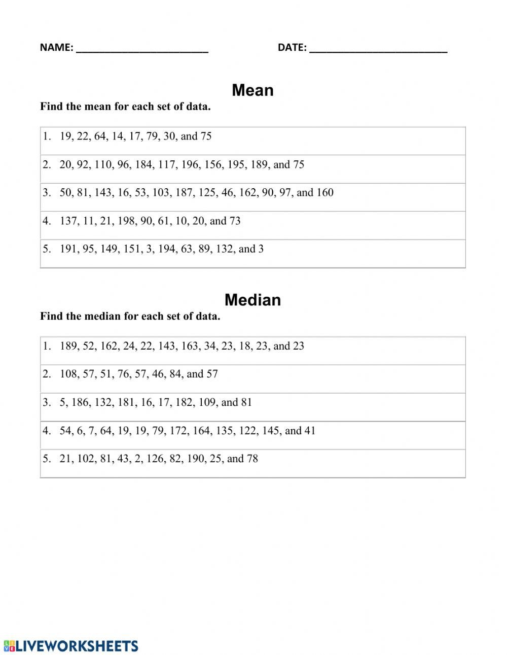 Mean Mode Median Worksheets Finding Mean Median and Mode Interactive Worksheet