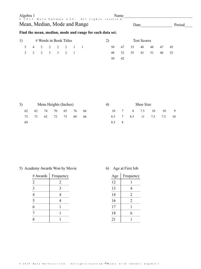 Mean Mode Median Worksheets Mean Median Mode and Range