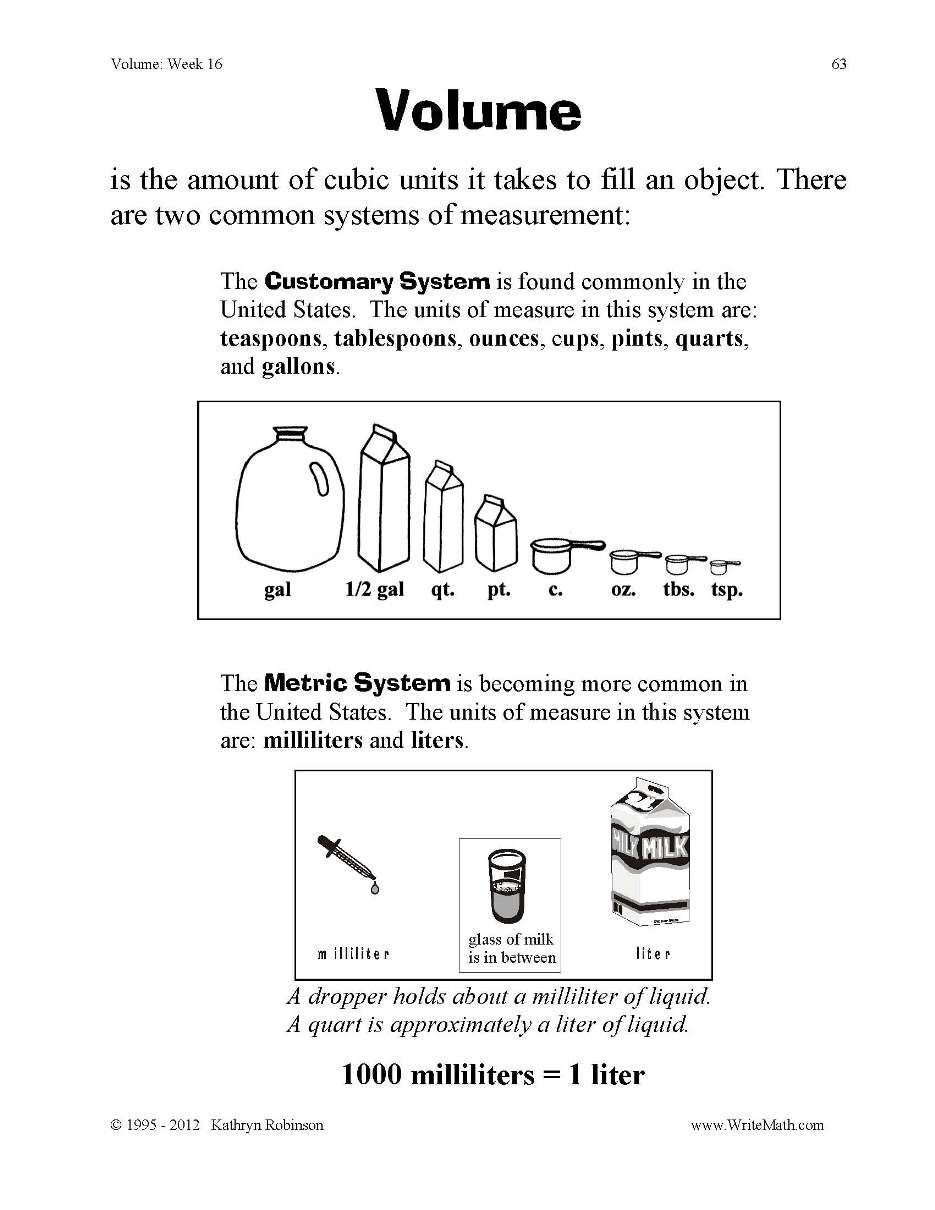 Measurement Worksheets 5th Grade Volume and Capacity Worksheets