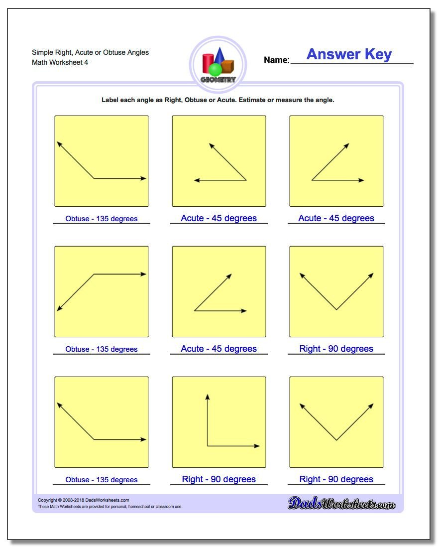 Measurement Worksheets Grade 3 Angles Right Obtuse Acute