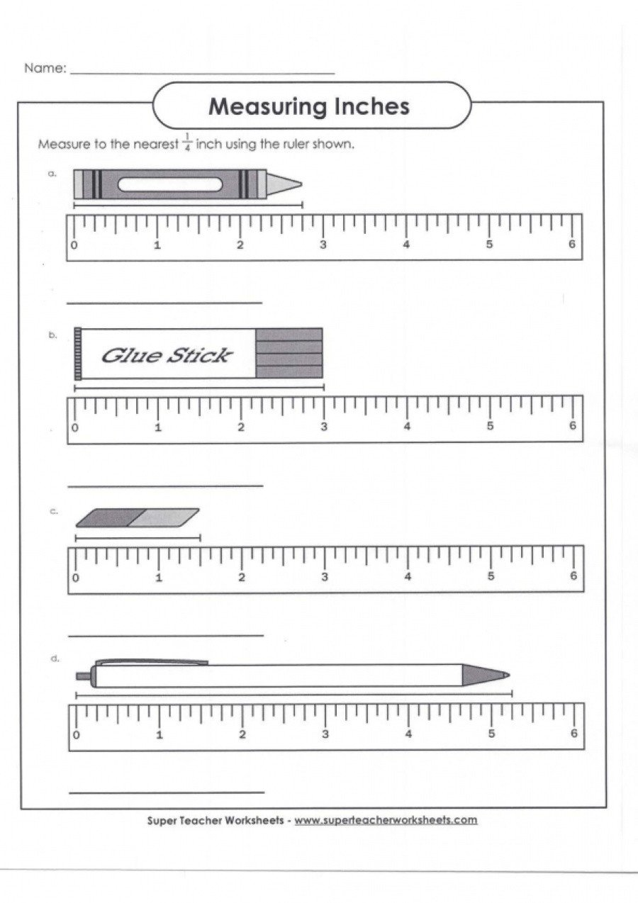 Measuring Inches Worksheet Measuring Inches with Answer Key
