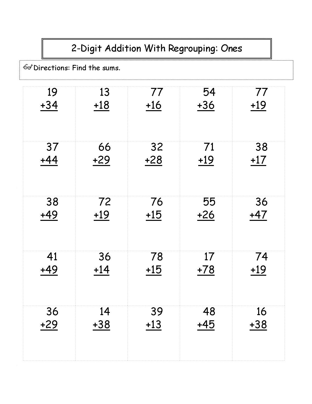 2nd Grade Math Worksheets 2 digit Addition