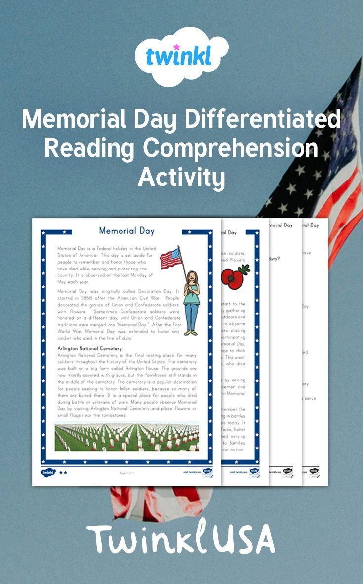 Memorial Day Reading Comprehension Worksheets Celebrate Memorial Day In Your Reading Class with This Fun
