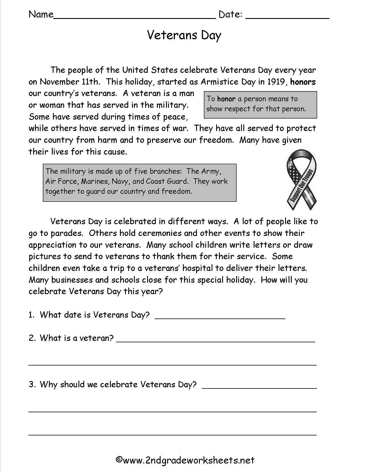 Memorial Day Reading Comprehension Worksheets Honoring Our Veterans Worksheet Answers
