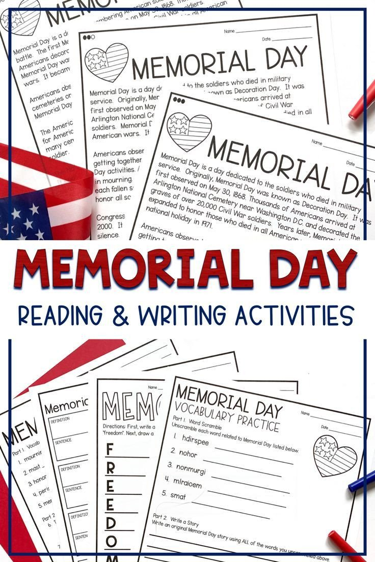 Memorial Day Reading Comprehension Worksheets Memorial Day Differentiated Reading Activities