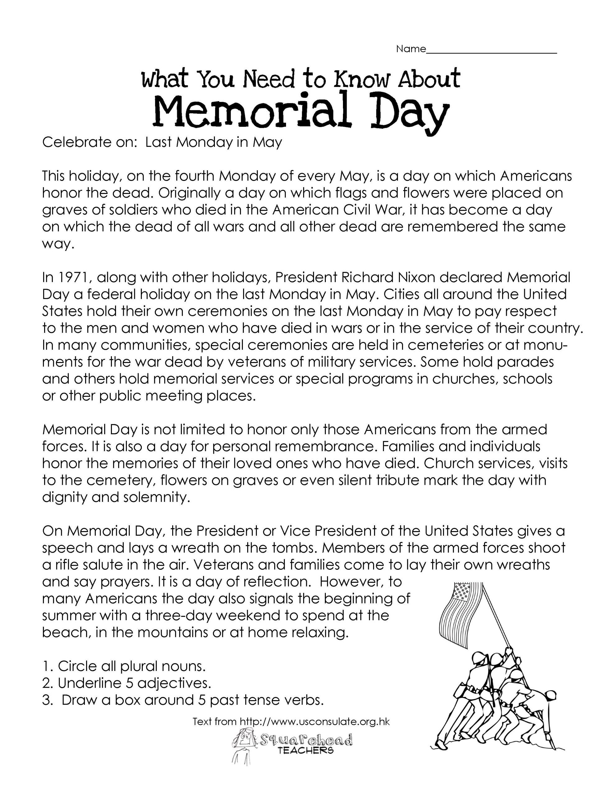 Memorial Day Reading Comprehension Worksheets Memorial Day Free Worksheet