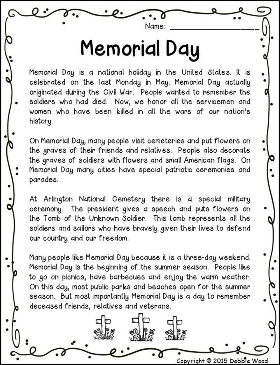 Memorial Day Reading Comprehension Worksheets Memorial Day