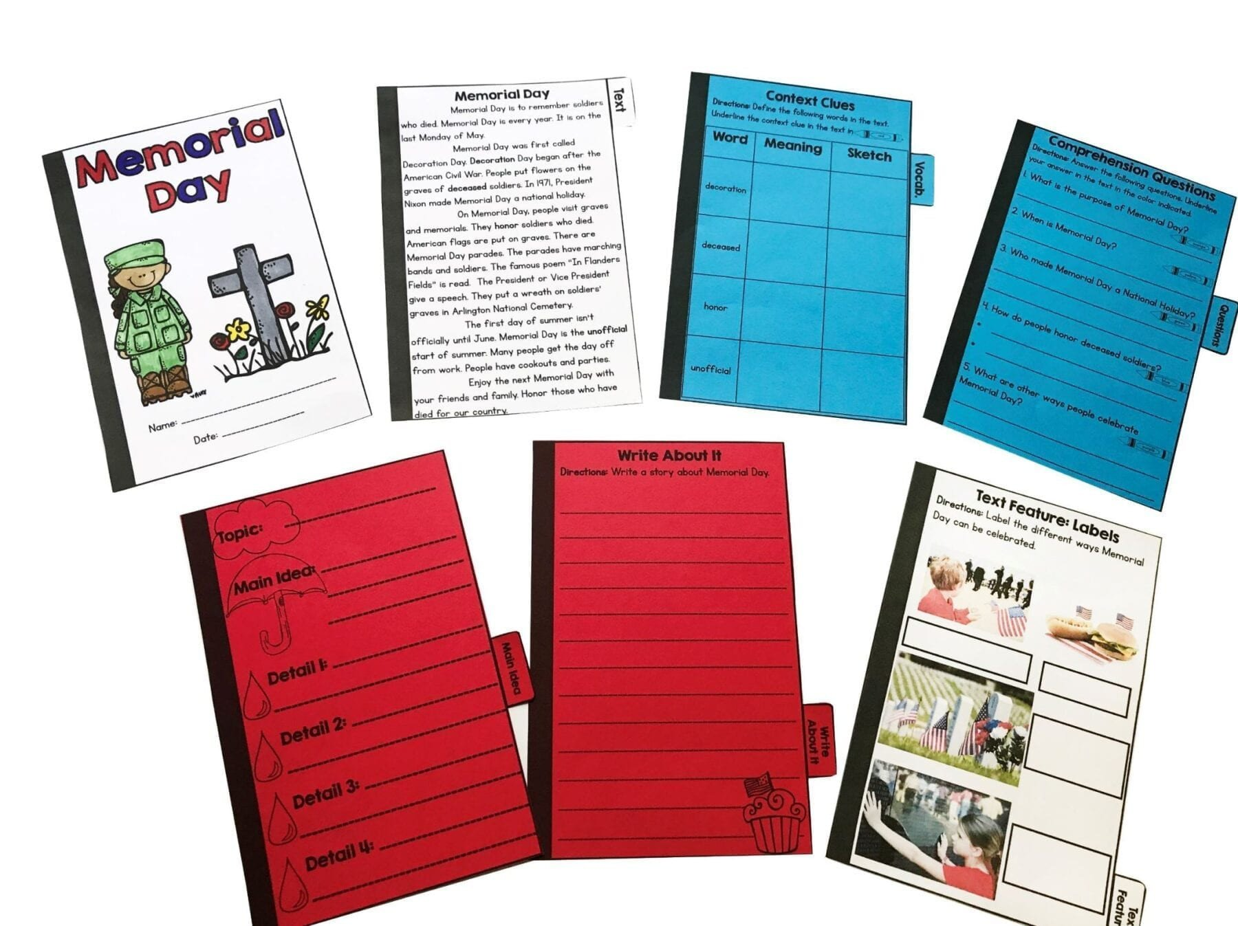 Memorial Day Reading Comprehension Worksheets Memorial Day Reading Prehension Flip Book Activities 2nd & 3rd Grade
