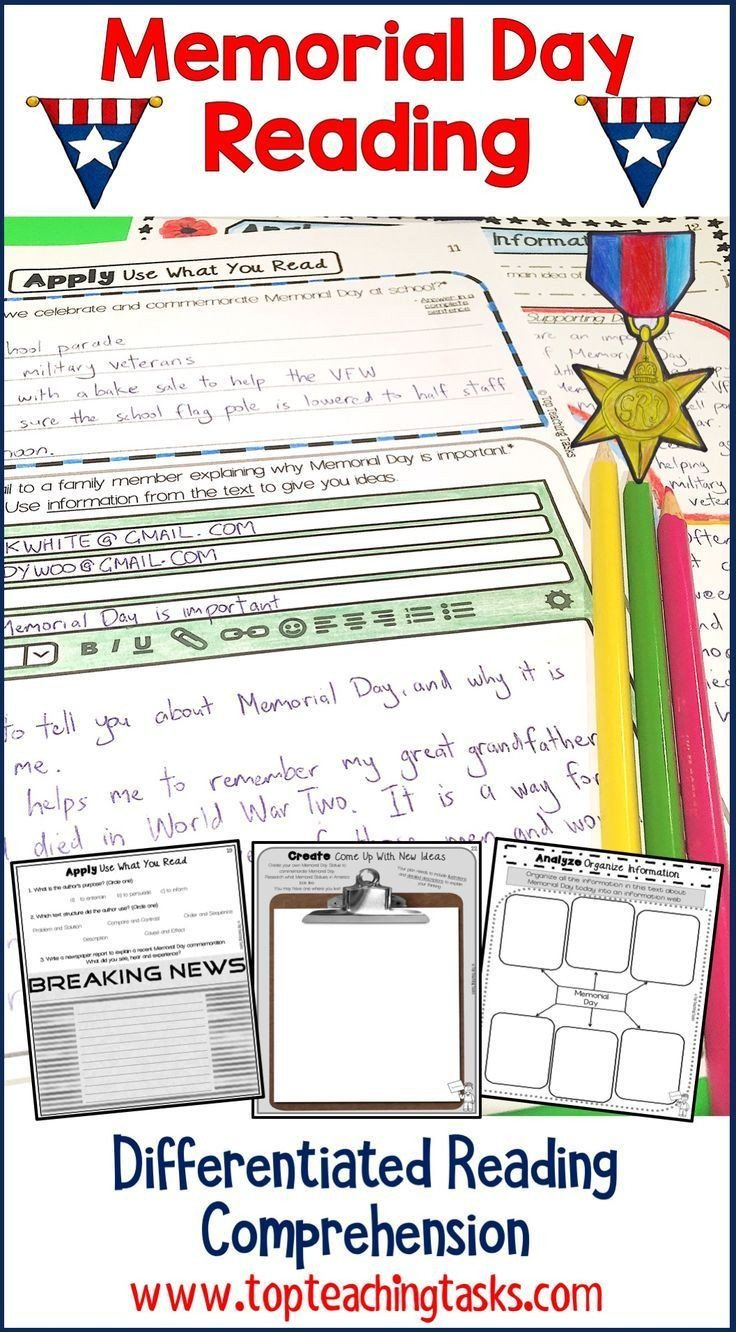 Memorial Day Reading Comprehension Worksheets Memorial Day Reading Prehension Passages and Questions