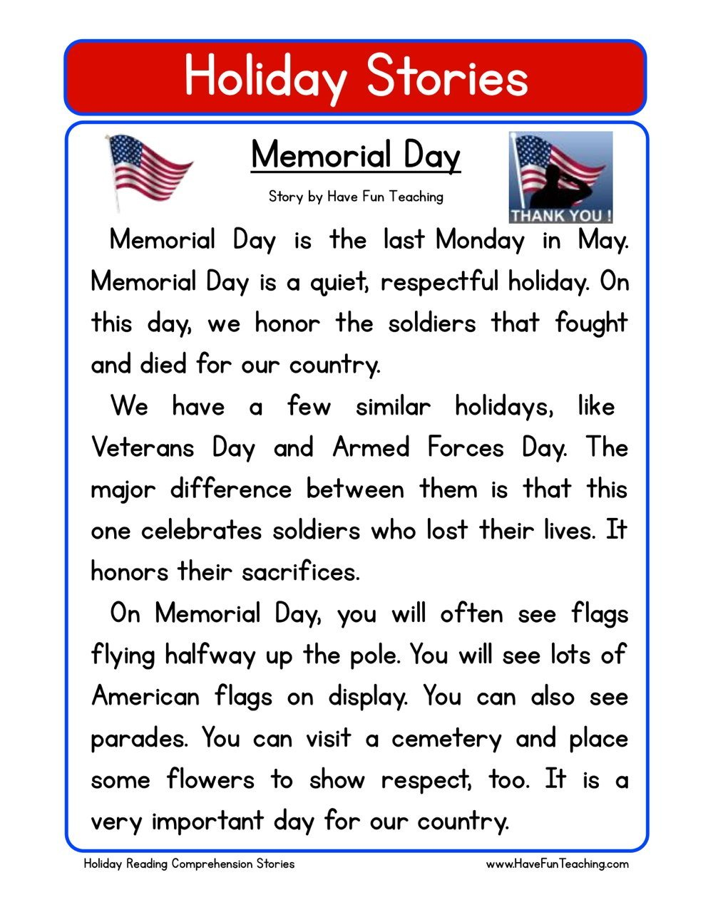 Memorial Day Reading Comprehension Worksheets Memorial Day Reading Prehension Worksheet