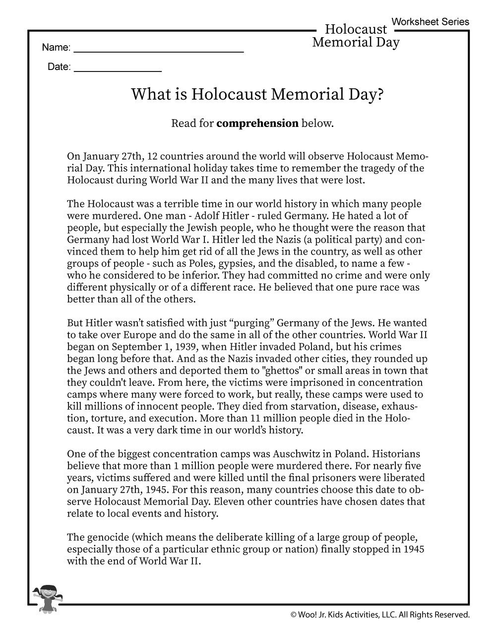 Memorial Day Reading Comprehension Worksheets What is Holocaust Memorial Day