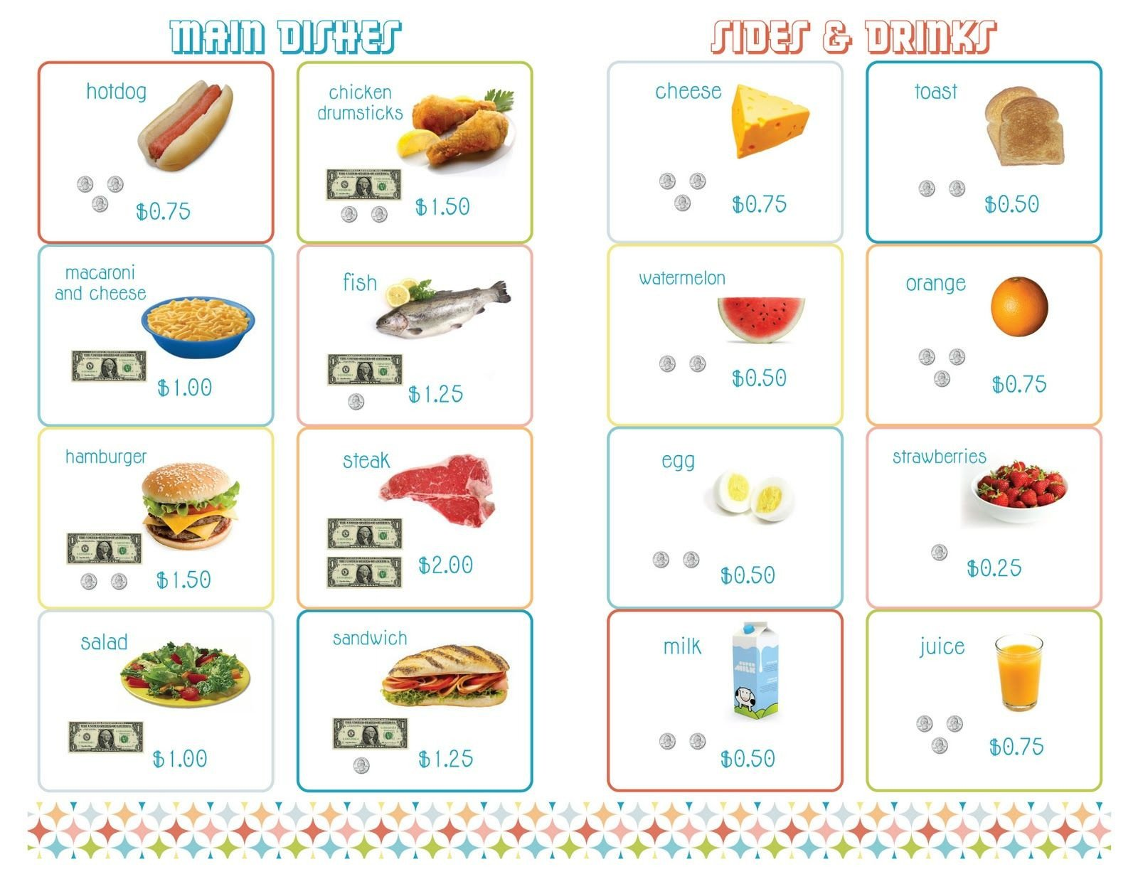 Menu Math Worksheets Delightful Distractions Printable Menus for Playing