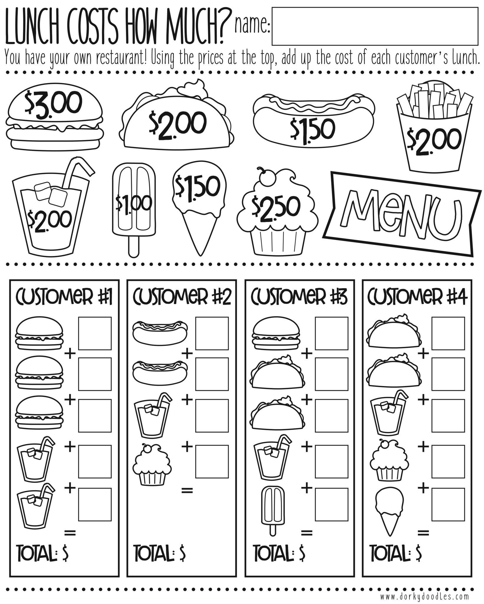 Menu Math Worksheets Money Math Practice How Much Does Lunch Cost – Dorky Doodles