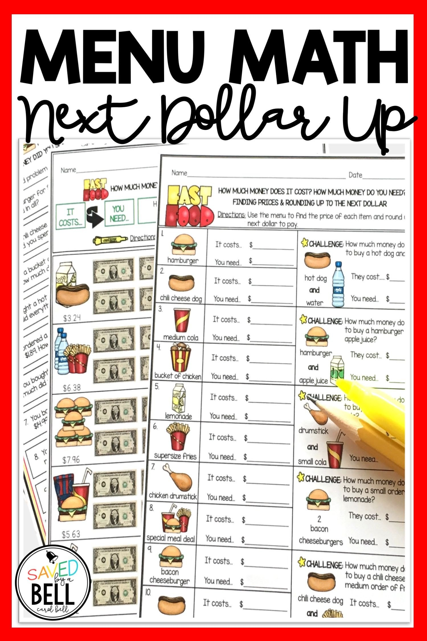 Menu Math Worksheets Next Dollar Up Worksheets and Word Problems Menu Math