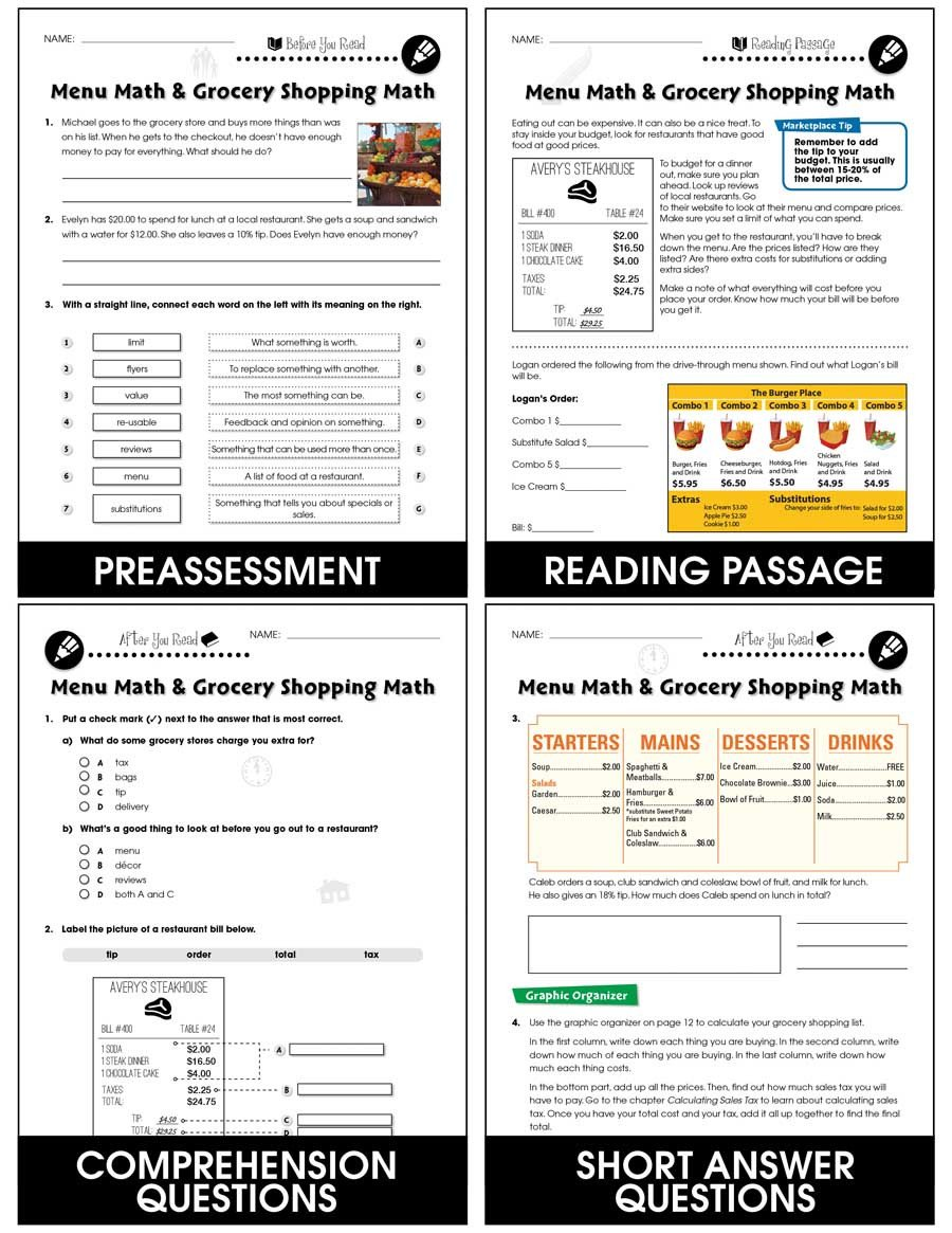 Menu Math Worksheets Printable Daily Marketplace Skills Menu Math and Grocery Shopping