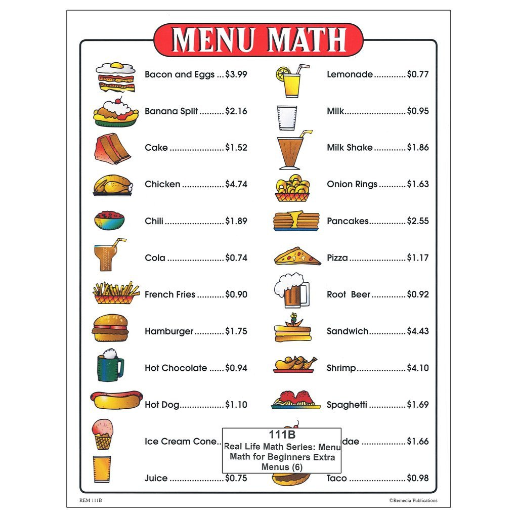 menu math for beginners extra price lists 6 2874