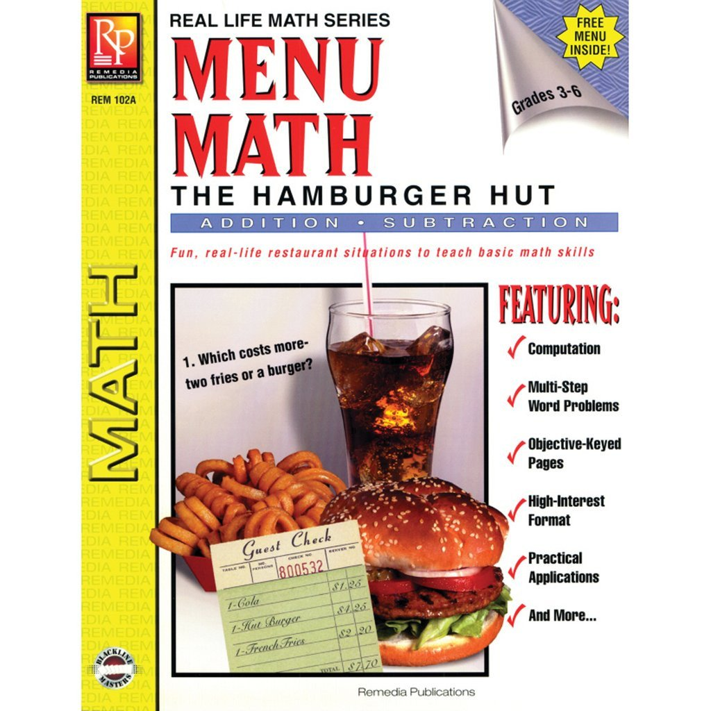 menu math hamburger hut book 1 add subtract 6403