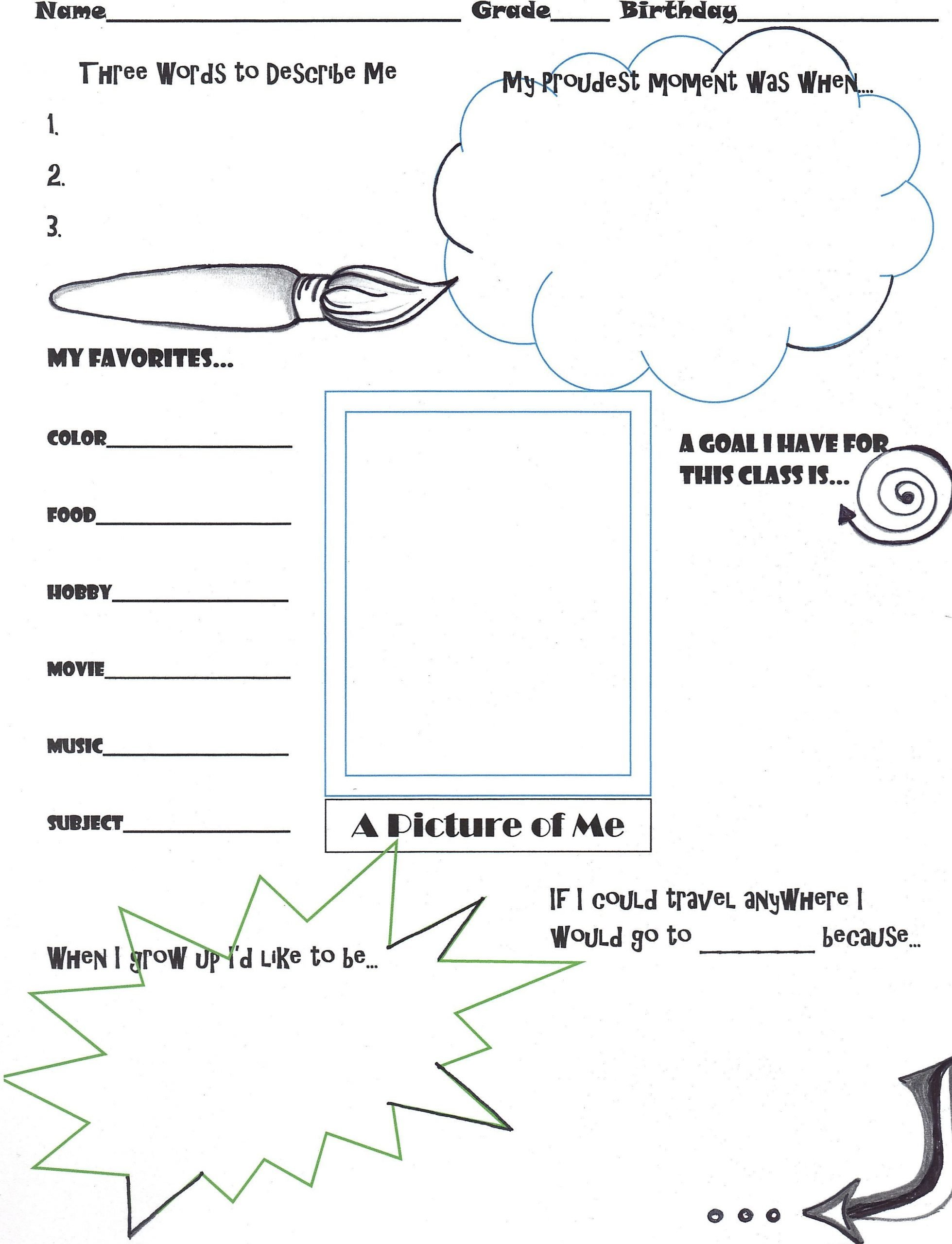 "Middle School Art Worksheets Getting to Know You"" Activity for the First Day Of Art Class"