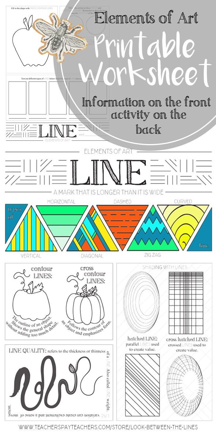 Middle School Art Worksheets Line Elements Of Art Printable Worksheet Elementary