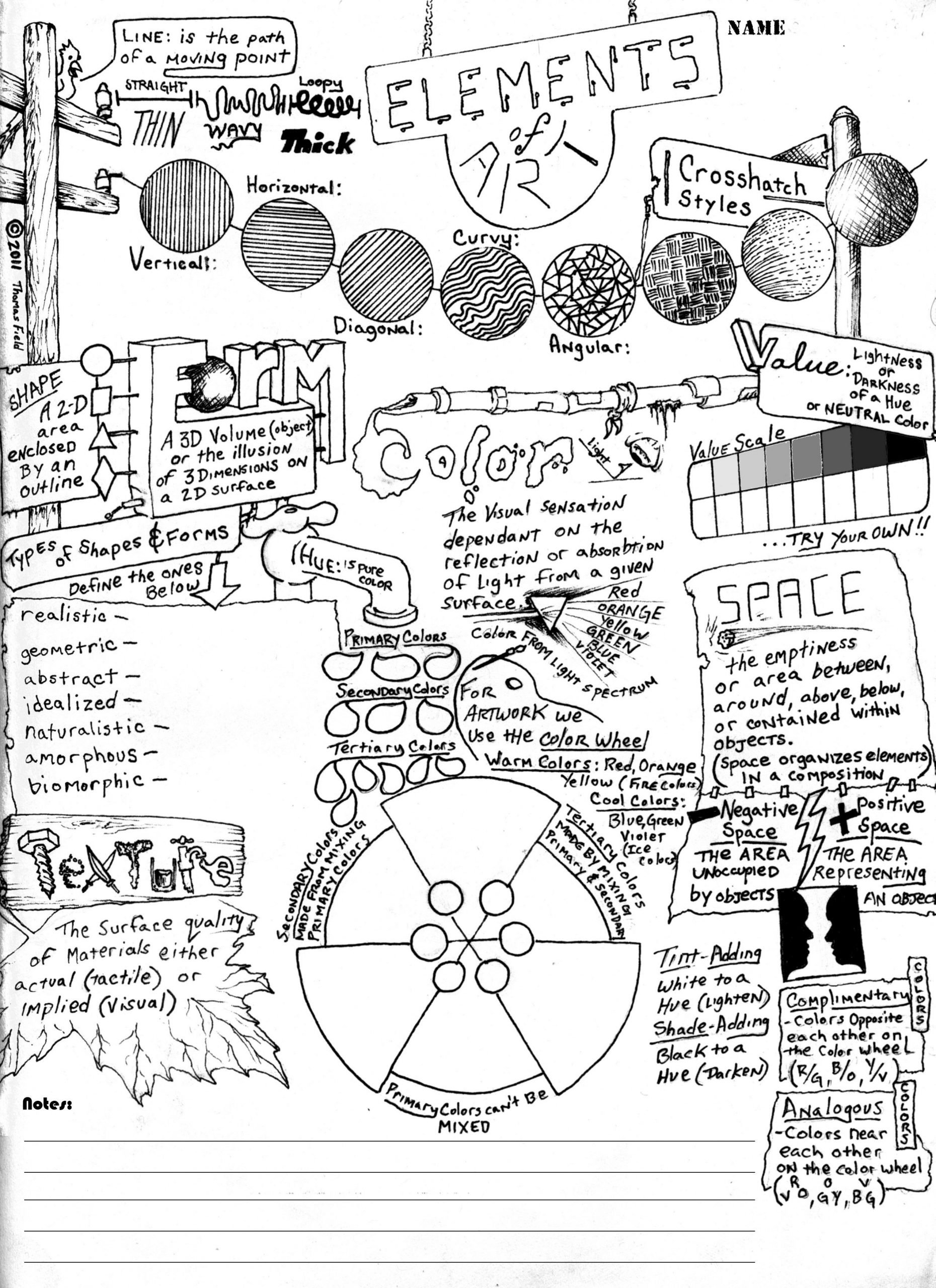 Middle School Art Worksheets Wksht Elementsofart002 2550—3509