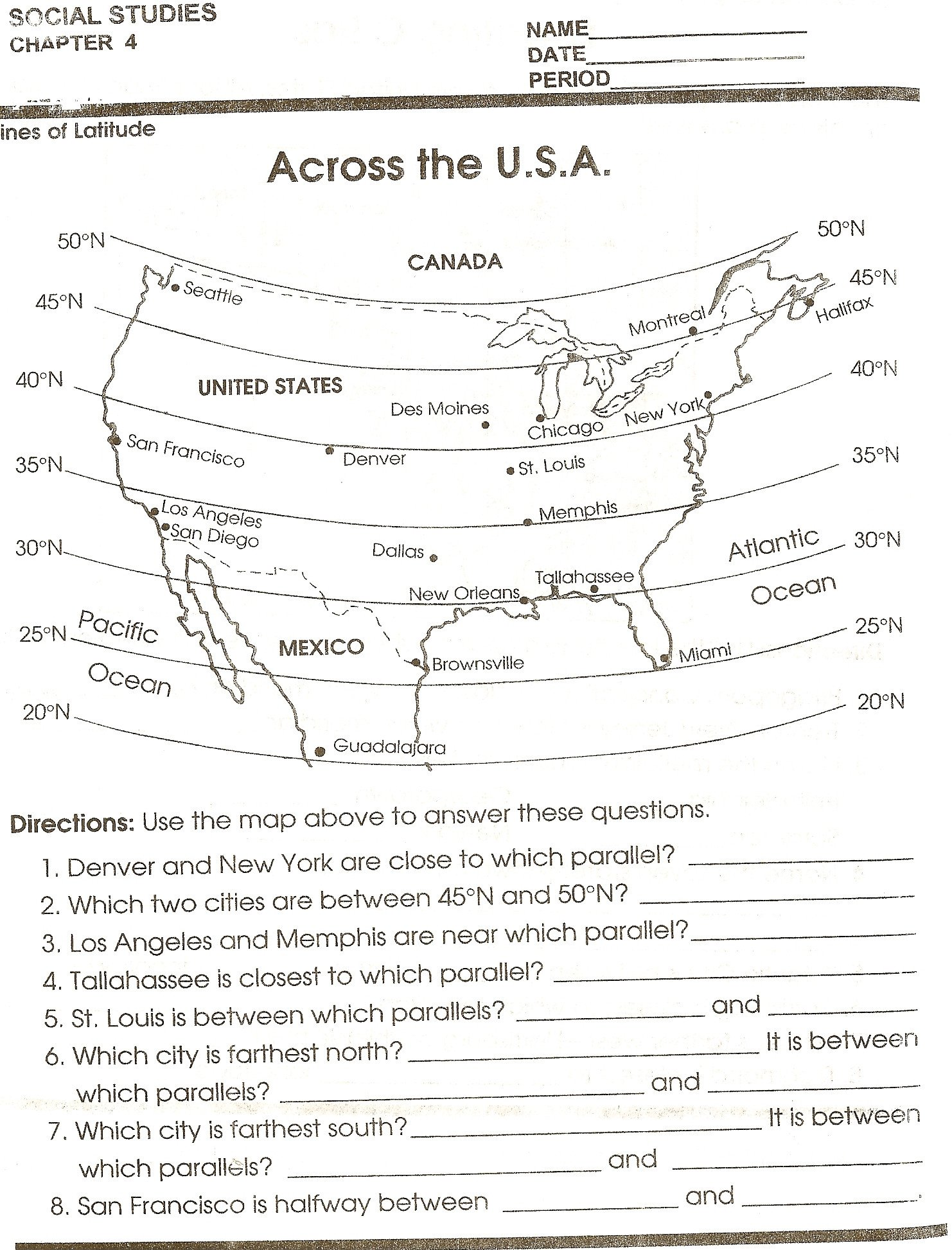 Middle School Map Skills Worksheets Latitude and Longitude Worksheets 6th Grade