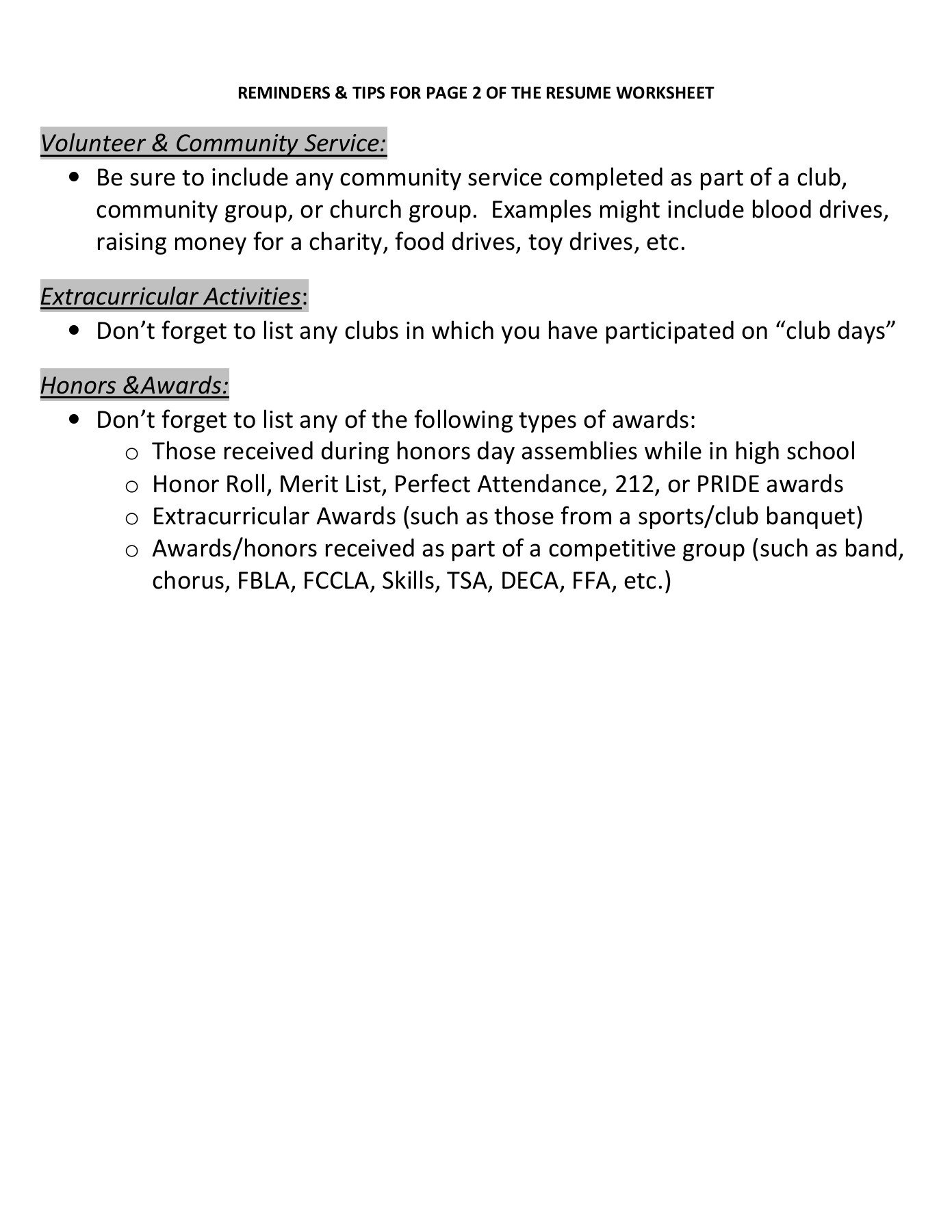 Middle School Resume Worksheet Resume Pages 1 4 Text Version