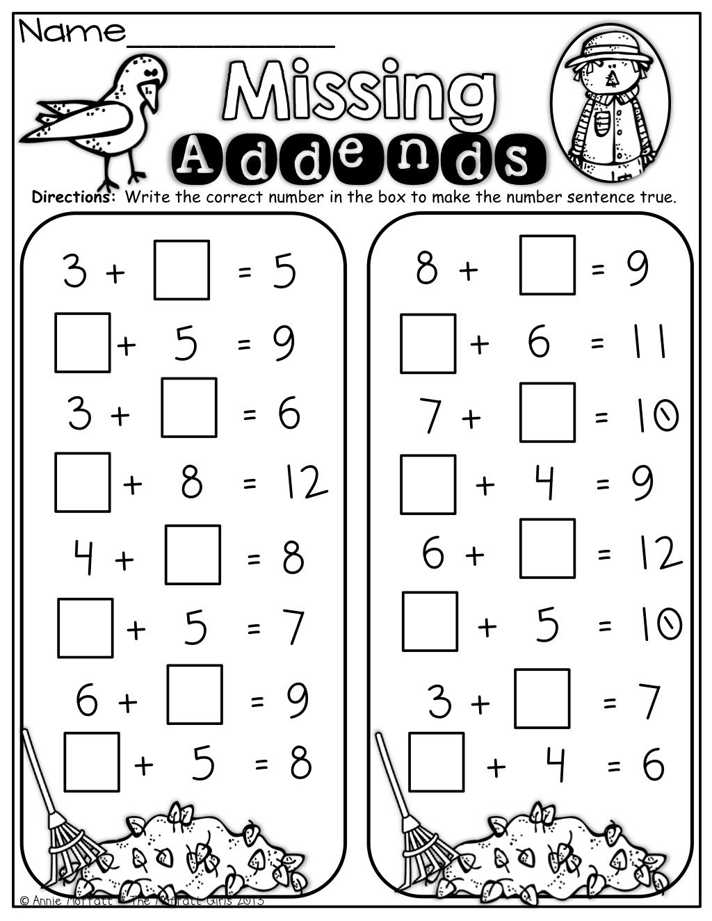 Missing Addends Worksheets First Grade Missing Addend Worksheet 1st Grade