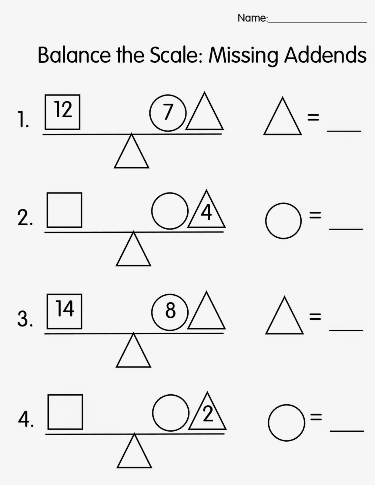 Missing Addends Worksheets First Grade Mrs T S First Grade Class Balance the Scale Missing Addends