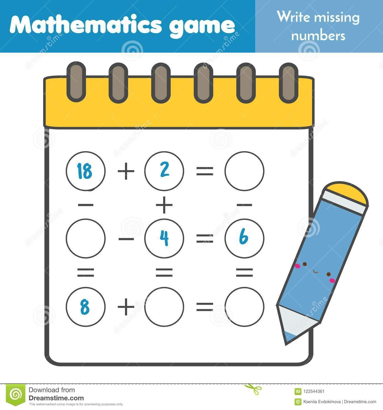 Missing Numbers In Equations Worksheets Educational Game for Children Plete Equations Study