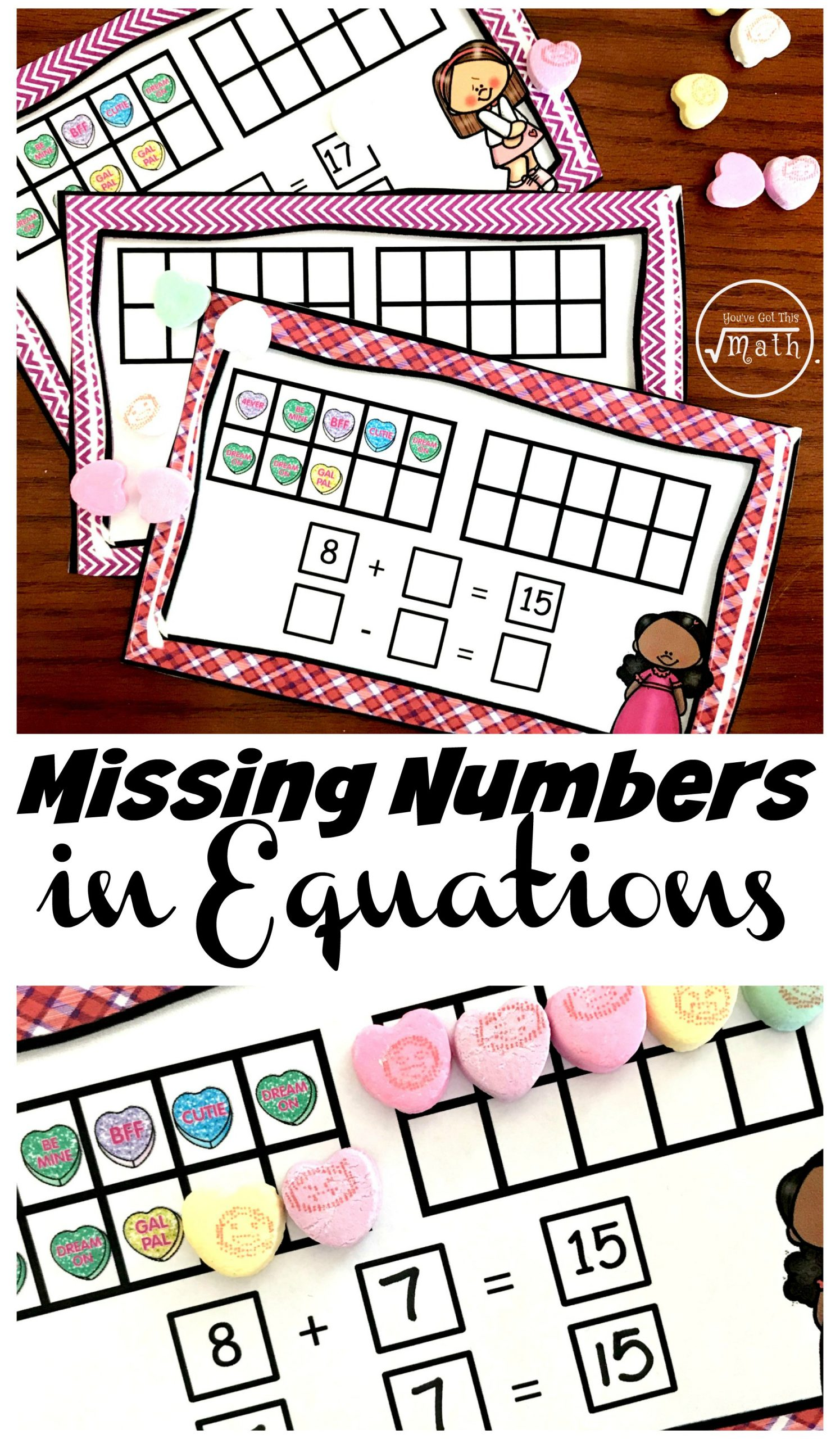Missing Numbers In Equations Worksheets Fun Hands Task Cards for Teaching Missing Numbers In