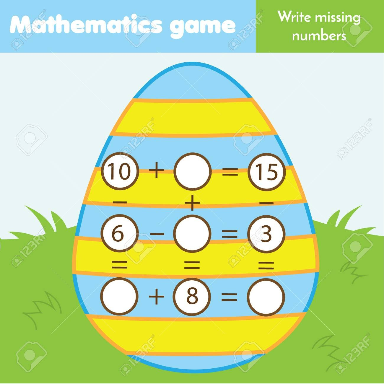Missing Numbers In Equations Worksheets Math Educational Game for Children Write Missing Numbers and