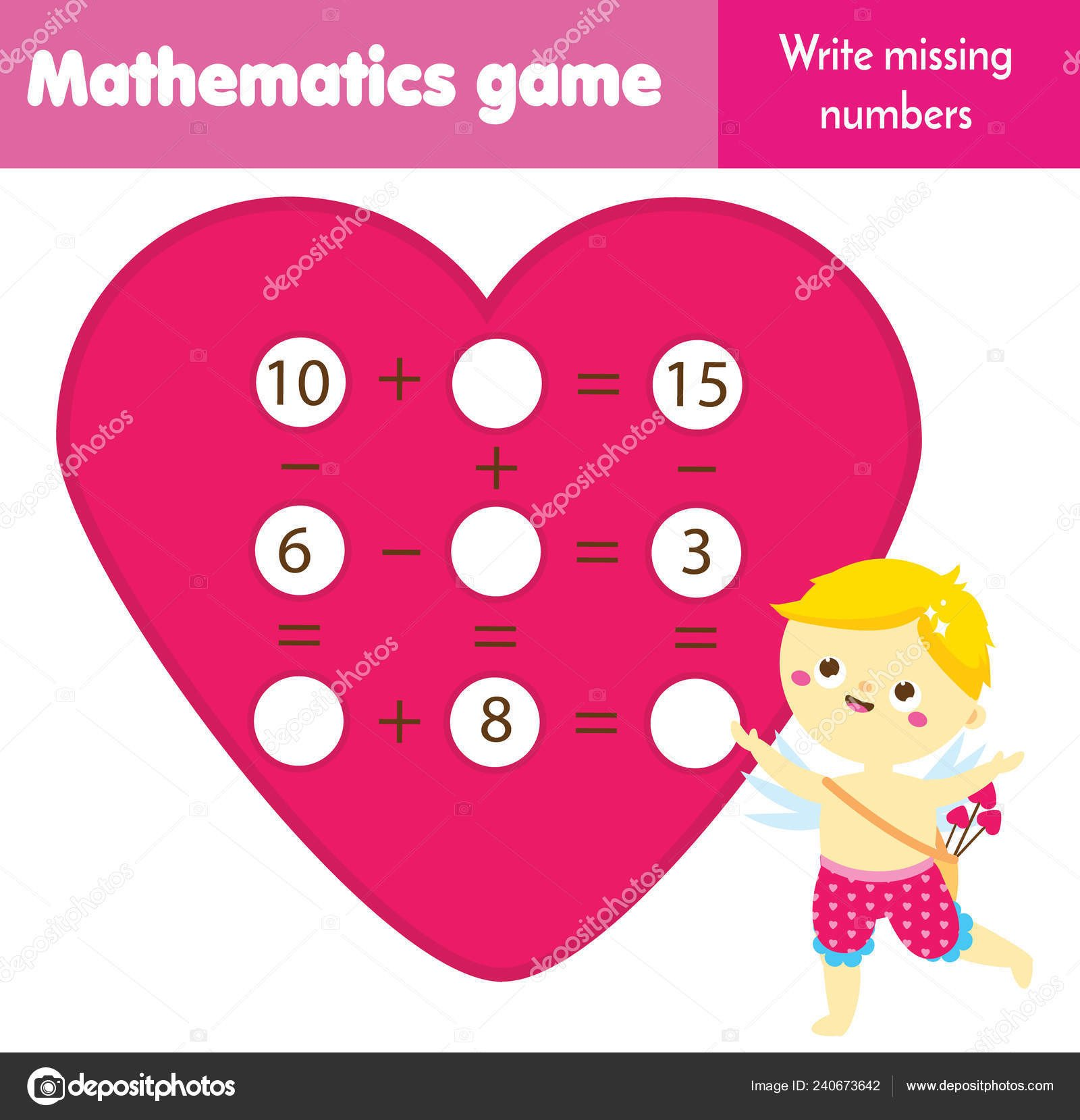 Missing Numbers In Equations Worksheets Math Educational Game for Children Write Missing Numbers and Plete Equations Study Subtraction and Addition St Valentines Day theme Mathematics