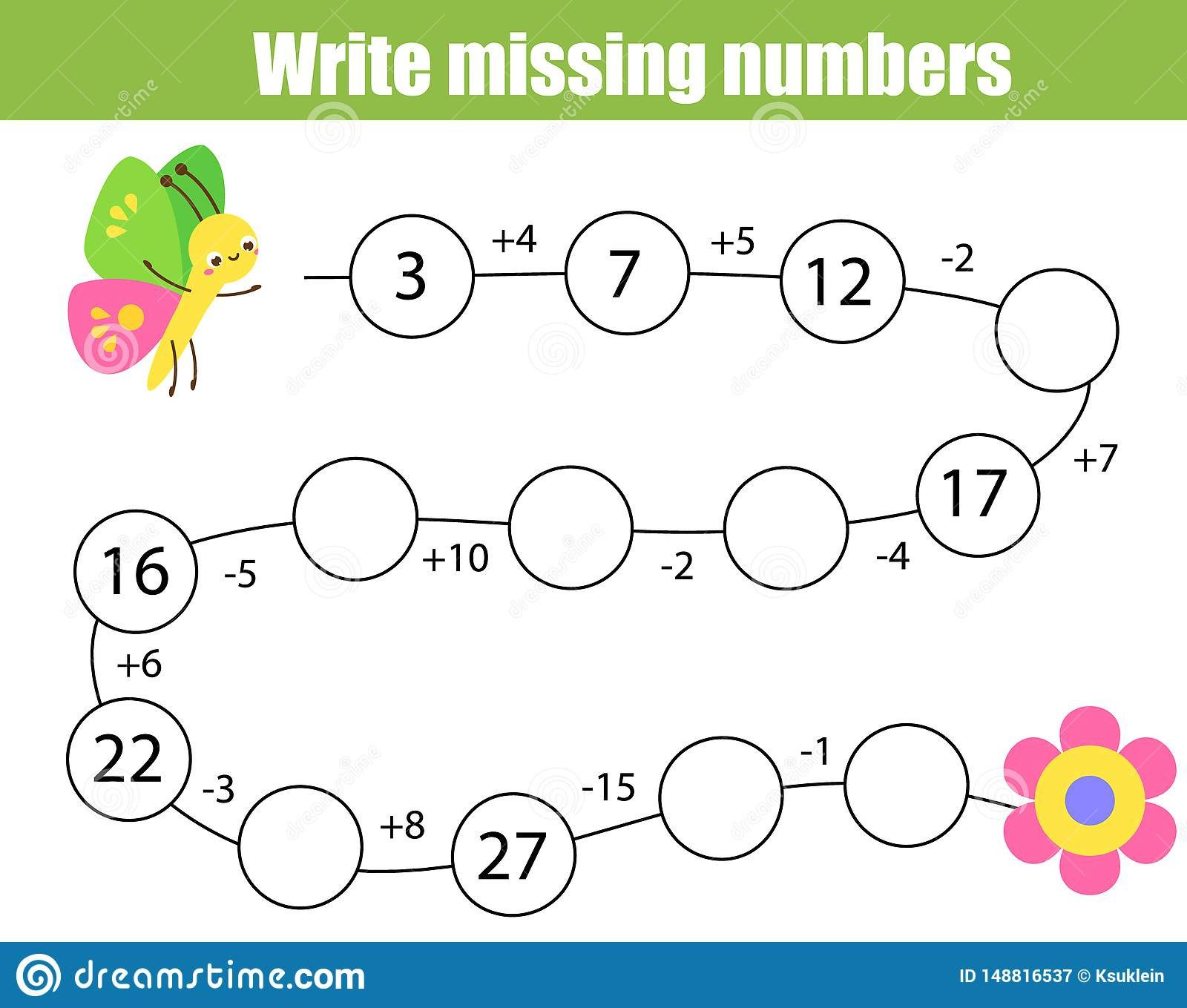 Missing Numbers In Equations Worksheets Mathematics Educational Game for Children Plete the Row